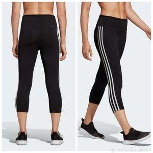 Adidas 3 Stripe High Waist Climalite Capri Legging